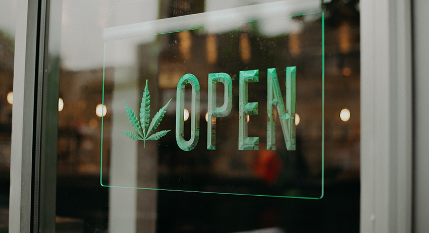 open sign in scarborough dispensary. buy legal weed near me. best dispensary on kingston road.